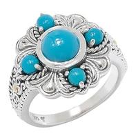 Samuel B. Sterling Silver Sleeping Beauty Turquoise Flower Design Ring
