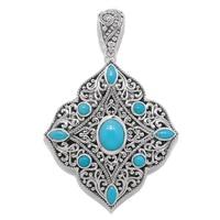 Samuel B. Sterling Silver Sleeping Beauty Turquoise Pendant