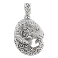 Samuel B. Sterling Silver 18K Yellow Gold Accent Ram Head Pendant