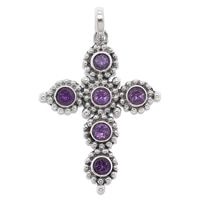 Samuel B. Sterling Silver Gemstone Cross Pendant