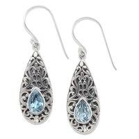 Samuel B. Sterling Silver Pear Shape Gemstone Drop Earrings