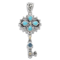 Samuel B. Sterling Silver Sleeping Beauty Turquoise Key Pendant