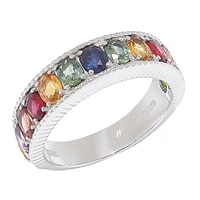 Gem RoManse Sterling Silver Rhodium Plated Gemstone Band Ring