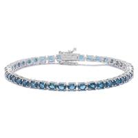 Gem RoManse Sterling Silver Rhodium Plated Multi Sapphire Line Bracelet
