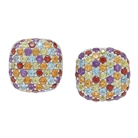 Gem RoManse Sterling Silver Rhodium Plate Multi Gemstone Stud Earrings