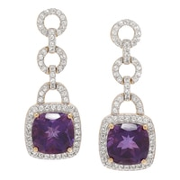 Gem RoManse Sterling Silver 14K Yellow Gold Vermeil Amethyst & White Topaz Drop Earrings