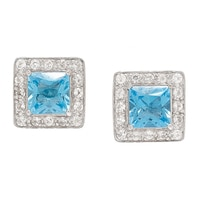 Gem RoManse Sterling Silver Rhodium Plated Stud Earrings with Removable Frames