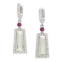 Gem RoManse Sterling Silver Rhodium Plated Trapazoid Gemstone Earrings