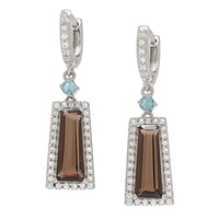 Gem RoManse Sterling Silver Rhodium Plated Trapazoid Gemstone Earrings