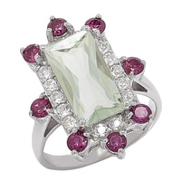 Gem RoManse Sterling Silver Rhodium Plated Baguette Shape Gemstone Ring