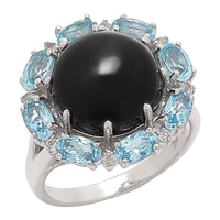 Gem RoManse Sterling Silver Black Star Diopside Ring With Swiss Blue & White Topaz Accents