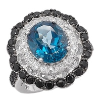Gem RoManse Sterling Silver Rhodium Plated Ring With London Blue Topaz, White Topaz & Black Spinel