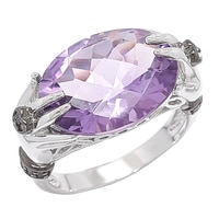 Gem RoManse Sterling Silver Rhodium Plated Amethyst & White Topaz Ring