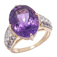 Gem RoManse 10K Yellow Gold Amethyst with Tanzanite & White Zircon Accent Ring