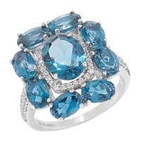 Gem RoManse 10K Gold London Blue Topaz & White Zircon Cluster Ring