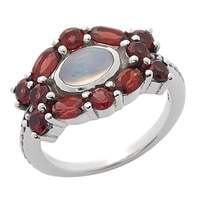 Himalayan Gems Sterling Silver Oval Opal & Gemstone Ring