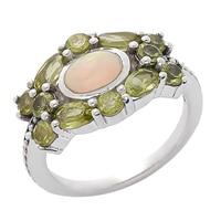 Bague parée d'une opale ovale et de gemmes sur argent sterling de Himalayan Gems