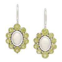 Himalayan Gems Sterling Silver Oval Opal & Gemstone Earrings