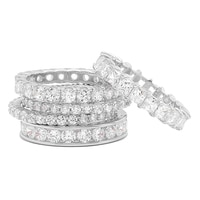Diamonelle Sterling Silver Set of 5 Eternity Bands