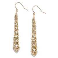 10K Yellow Gold Double Graduated Twist Dangle Earrings