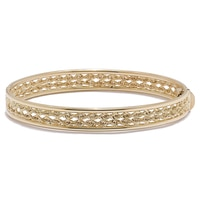"10K Yellow Gold Textured & Twist 7.5"" Bangle"