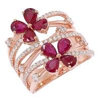 Bague sertie de rubis et pavée de diamants, sur or rose (18 ct)