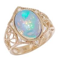 Bague sertie d'une opale éthiopienne et pavée de diamants, sur or jaune 14 ct