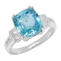 The Vault 14K White Gold Blue Zircon & Diamond Ring