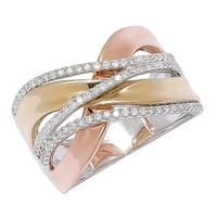 18K Tricolour Gold Diamond Crossover Band