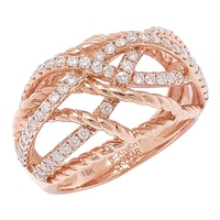 The Vault 18K Rose Gold Diamond Multi Cross Over Band
