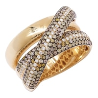 18K Yellow Gold Champagne & White Diamond Cross Over Band