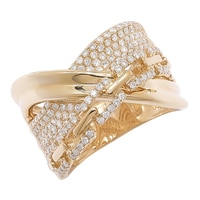 18K Yellow Gold Pave Set Diamond Cross Over Band