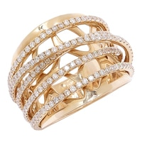 14K Yellow Gold Diamond Filigree Band