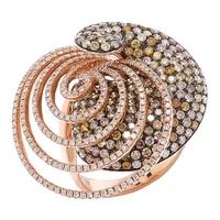 Bague au contour capricieux ornée de diamants blancs et de diamants champagne sur or rose 18 ct