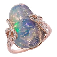 The Vault 14K Rose Gold Freeform Opal & Diamond Ring
