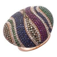 18K Rose Gold Blue Sapphire & Diamond Bold Ring