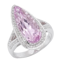 14K White Gold Kunzite & Diamond Ring
