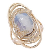 The Vault 14K Yellow Gold Moonstone & Diamond Ring