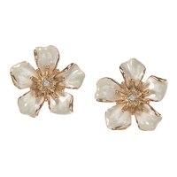 Anne Klein In Full Bloom Flower Button Earrings