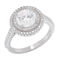 Diamonelle Sterling Silver Halo Ring