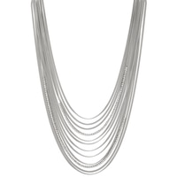 Emma Skye Multi Strand Crystal & Snake Chain Graduated Necklace