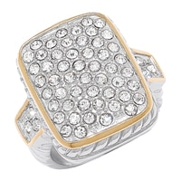 Emma Skye Two-Tone Rectangular Crystal Ring