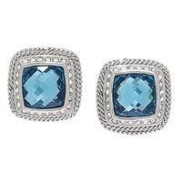 Es Blue Crystal Stud Earrings