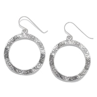 Designs from Nazareth Sterling Silver Oxidized Finish Open Circle Earrings