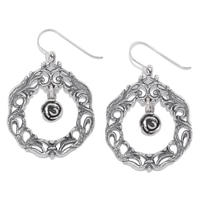 Designs from Nazareth Sterling Silver Oxidized Finish Rose Wreath Earrings