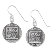 Designs from Nazareth Sterling Silver Oxidized Finish Frame Round Earrings