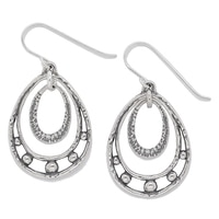 Designs from Nazareth Sterling Silver Oxidized Finish Double Teardrop Earrings