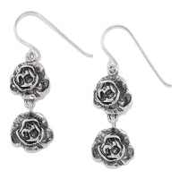 Designs from Nazareth Sterling Silver Oxidized Finish Double Rosette Teardrop Earrings