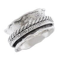 Designs from Nazareth Sterling Silver Oxidized Finish Spinner Ring