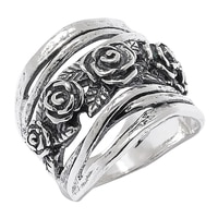 Designs from Nazareth Sterling Silver Oxidized Finish Roses Ring